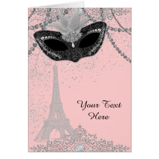 Pink and Black Paris Masquerade Party Card