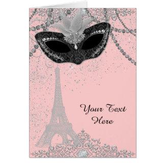 Pink and Black Paris Masquerade Party Greeting Card