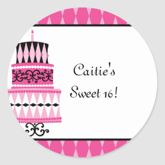 Pink and Black Party Cake Round Sticker
