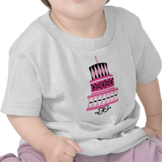 Pink and Black Party Cake Tee Shirt