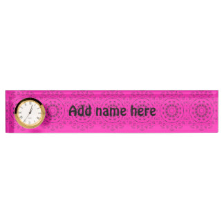 Pink and black pattern name plate