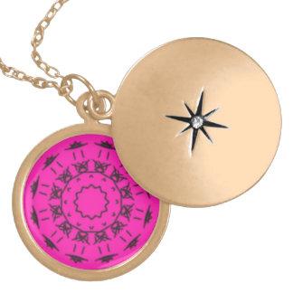 Pink and black pattern round locket necklace