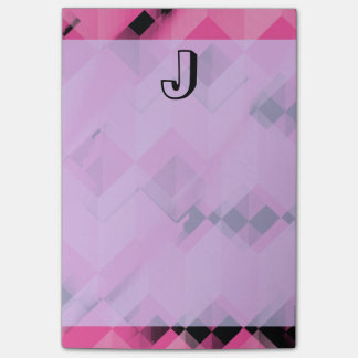 Pink and Black Pattern Personalized Monogram Post-it® Notes