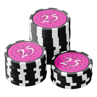 Pink and black pattern poker chips