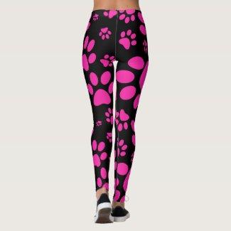 Pink and Black Paw-Prints Leggings