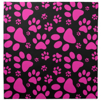 Pink and Black Paw Prints Napkins