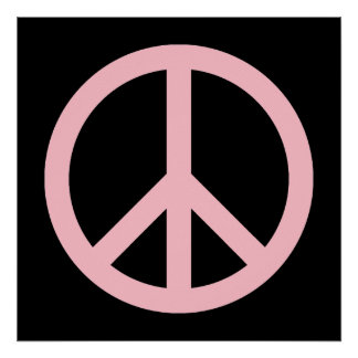 Pink and Black Peace Symbol Poster