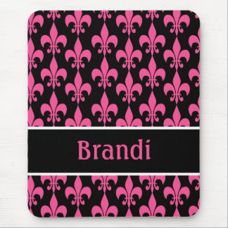 Pink and Black Personalized Fleur de Lis Mousepad