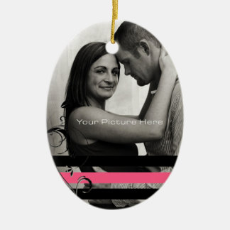 Pink and Black Photo Engagement Christmas Ornament