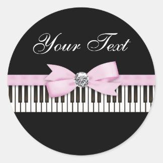 Pink and Black Piano Key Recital Classic Round Sticker