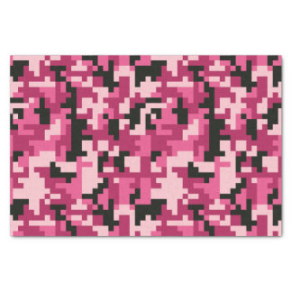 Pink and Black Pixel Camo pattern Tissue Paper
