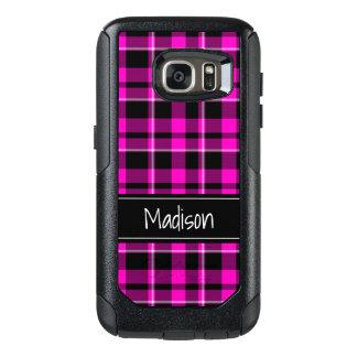 Pink and Black Plaid Modern Trendy OtterBox Samsung Galaxy S7 Case