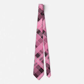Pink and Black Plaid Tie