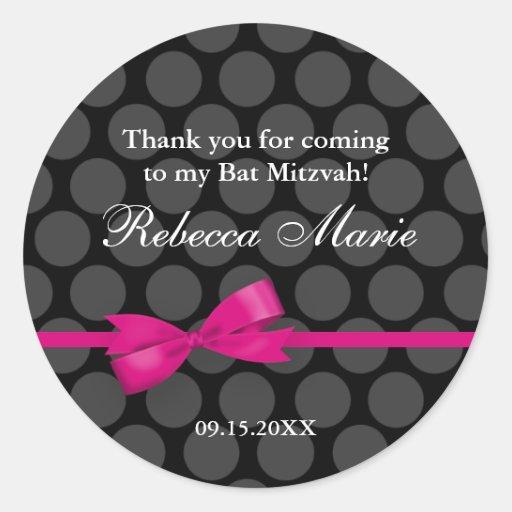 Pink and Black Polka Dot Bow Bat Mitzvah Favor Round Sticker