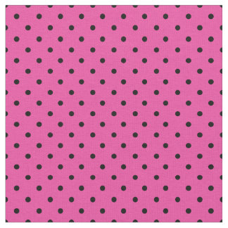Pink and Black Polka Dot Fabric, Micro Dot Fabric