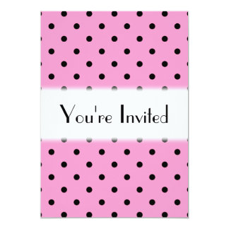 Pink and Black Polka Dot Pattern. 13 Cm X 18 Cm Invitation Card
