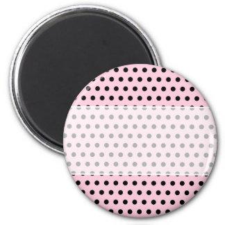 Pink and Black Polka Dot Pattern. Spotty. 6 Cm Round Magnet