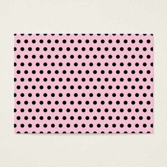 Pink and Black Polka Dot Pattern. Spotty. Business Card