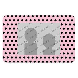 Pink and Black Polka Dot Pattern. Spotty. Magnet