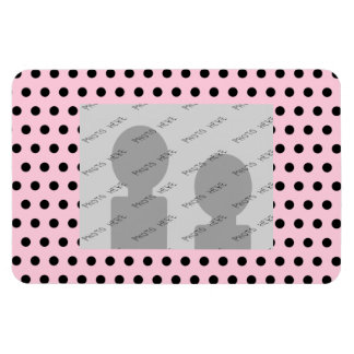 Pink and Black Polka Dot Pattern. Spotty. Rectangular Photo Magnet