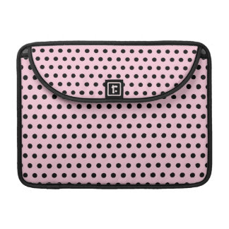 Pink and Black Polka Dot Pattern. Spotty. Sleeve For MacBook Pro