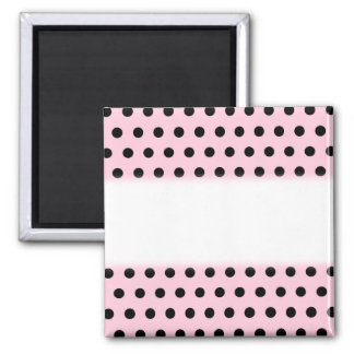Pink and Black Polka Dot Pattern. Spotty. Square Magnet