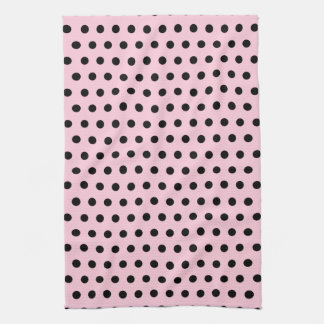 Pink and Black Polka Dot Pattern. Spotty. Tea Towel