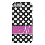 Pink and Black Polka Dot Pattern with Monogram