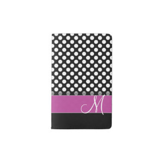 Pink and Black Polka Dot Pattern with Monogram Pocket Moleskine Notebook