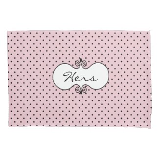 Pink and Black Polka Dot Pillow Case