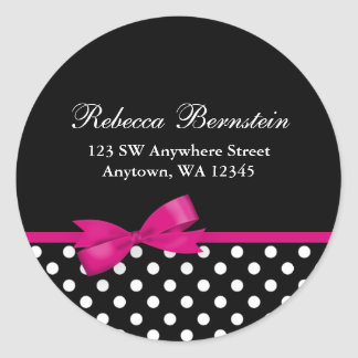 Pink and Black Polka Dots Bow Address Label Round Sticker