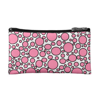 Pink and Black Polka Dots Cosmetic Bag