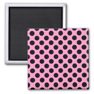 Pink and Black Polka Dots Magnet