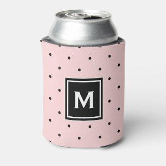 Pink and Black Polka Dots Pattern Monogram Can Cooler
