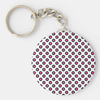 pink and black polka dots products basic round button key ring