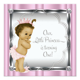 Pink and Black Princess 1st Birthday Party Invites