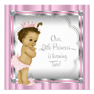 Pink and Black Princess 2nd Birthday Party Announcements