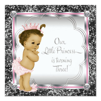 Pink and Black Princess 3rd Birthday Party Invitation