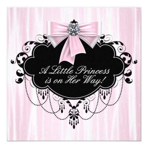 Pink and Black Princess Baby Shower 13 Cm X 13 Cm Square Invitation Card