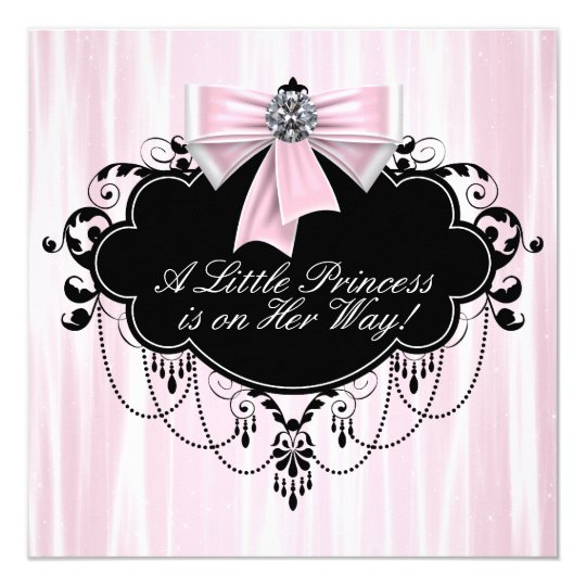 Pink and Black Princess Baby Shower 13 Cm X 13 Cm Square Invitation Card