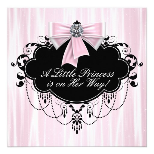 Pink and Black Princess Baby Shower Custom Announcements