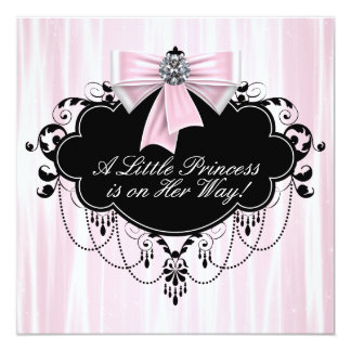 Pink and Black Princess Baby Shower Custom Announcement