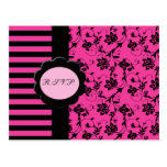 Pink and Black R.S.V.P. Card Post Card
