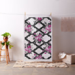 Pink and Black Rose Floral Flower on Black Lattice Fabric