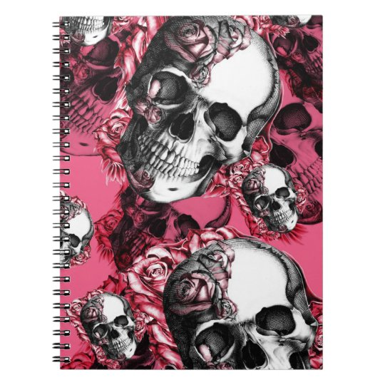 Pink and black rose skull pattern. spiral notebook
