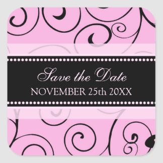 Pink and Black Save the Date Envelope Seal Square Sticker