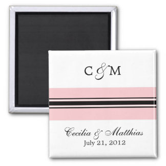 Pink and Black Save The Date Magnet