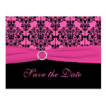 Pink and Black Save the Date Postcard