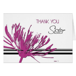 Pink and Black Sister Thank You Maid of Honor Card