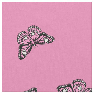 Pink And Black Skull Butterflies Fabric